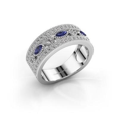 Ring Henna 950 platina saffier 4x2 mm