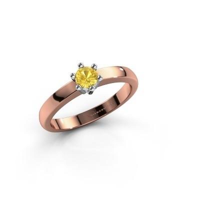 Verlovingsring Luna 1 585 rosé goud gele saffier 3.7 mm