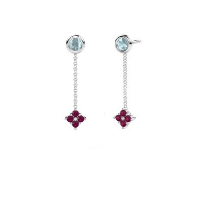Picture of Drop earrings Ardith 585 white gold rhodolite 2 mm