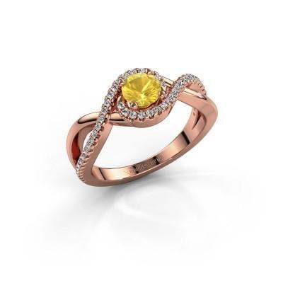 Foto van Verlovingsring Melody 375 rosé goud gele saffier 5 mm