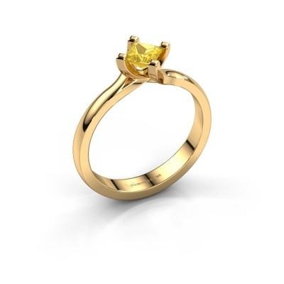 Verlobungsring Dewi Square 375 Gold Gelb Saphir 4 mm
