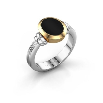 Zegelring Jake 1 F 585 witgoud onyx 10x8 mm