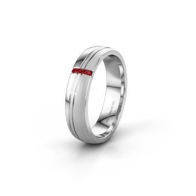Huwelijksring WH0909L25X 925 zilver robijn ±5x1.5 mm