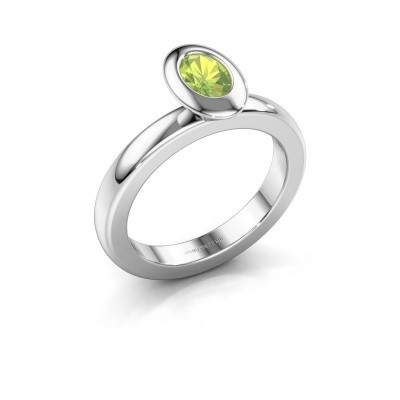 Stacking ring Trudy Oval 925 silver peridot 6x4 mm