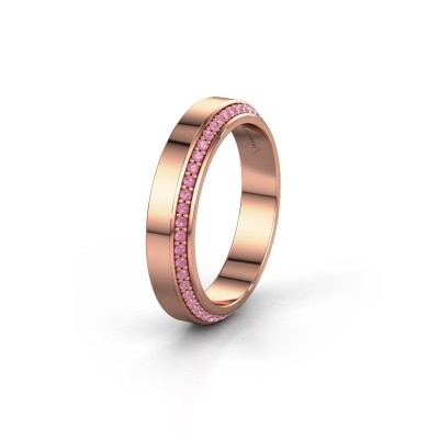 Trouwring WH2106L14C 375 rosé goud roze saffier ±4x2.2 mm