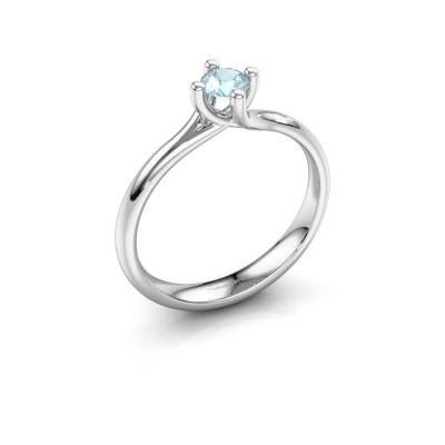 Engagement ring Dewi Round 950 platinum aquamarine 4 mm