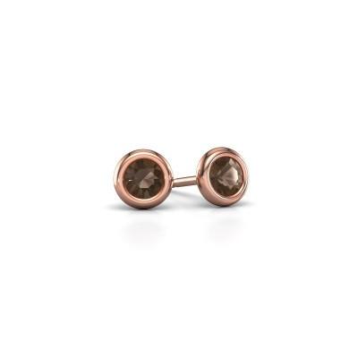 Picture of Stud earrings Lieke RND 375 rose gold smokey quartz 4 mm