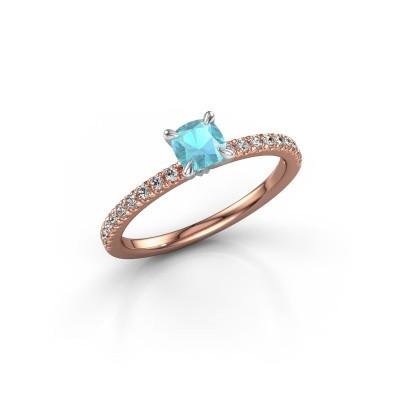 Foto van Verlovingsring Crystal CUS 2 585 rosé goud blauw topaas 5 mm