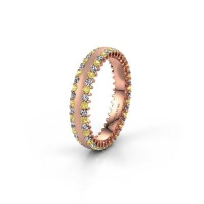 Wedding ring WH2139L24B 375 rose gold yellow sapphire ±4x2 mm