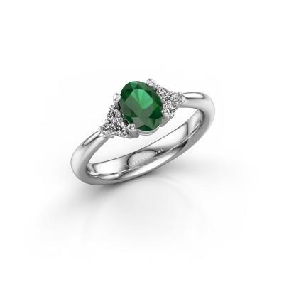 Foto van Verlovingsring Aleida 1 585 witgoud smaragd 7x5 mm