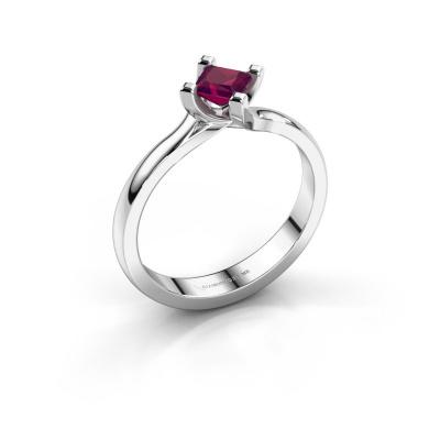 Engagement ring Dewi Square 585 white gold rhodolite 4 mm