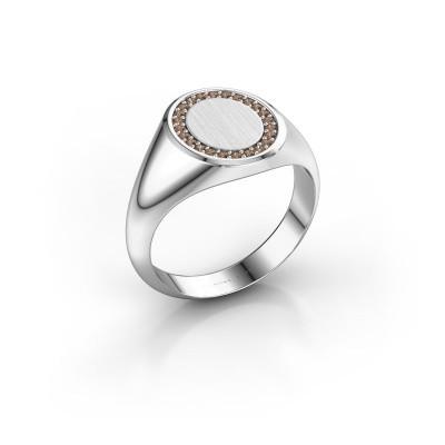 Foto van Zegelring Rosy Oval 2 925 zilver bruine diamant 0.008 crt