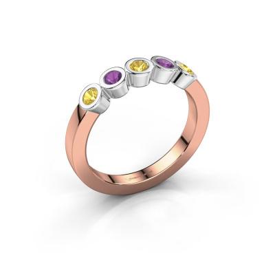 Ring Nova 585 rose gold yellow sapphire 3 mm
