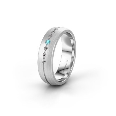 Wedding ring WH0162L25A 950 platinum blue topaz ±5,5x1.7 mm