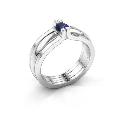 Picture of Ring Jade 925 silver sapphire 4 mm