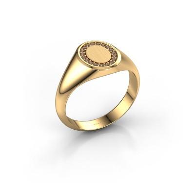 Foto van Zegelring Rosy Oval 1 585 goud bruine diamant 0.008 crt