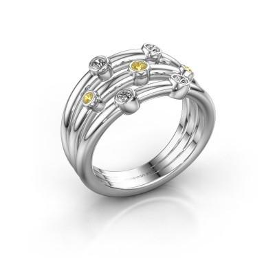 Ring Chloe 925 Silber Gelb Saphir 2 mm