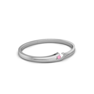 Photo de Bracelet jonc Yentl 585 or blanc saphir rose 3.7 mm
