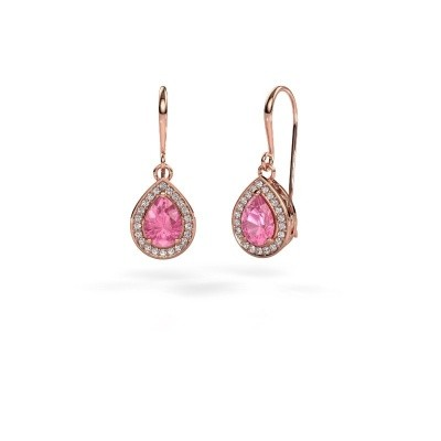 Picture of Drop earrings Beverlee 1 375 rose gold pink sapphire 7x5 mm