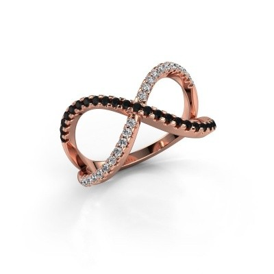 Ring Alycia 2 375 rose gold black diamond 0.496 crt