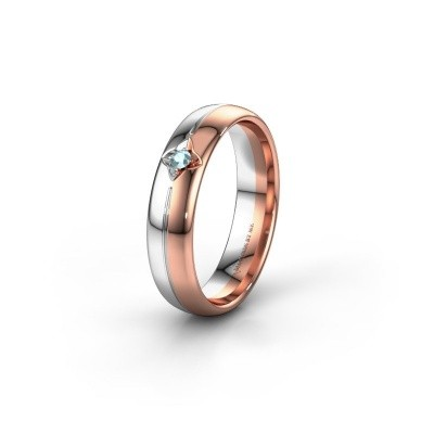 Wedding ring WH0221L35X 585 rose gold aquamarine ±0.20x0.06 in