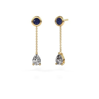 Picture of Drop earrings Laurie 3 375 gold zirconia 7x5 mm