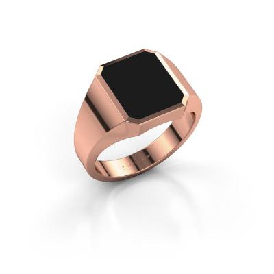 Foto van Zegelring Lars 2 375 rosé goud zwarte emaille 12x10 mm