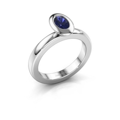 Stacking ring Trudy Oval 925 silver sapphire 6x4 mm