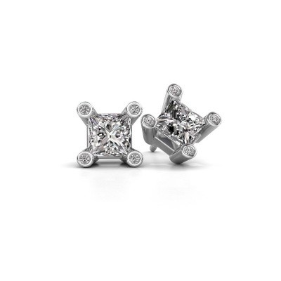 Picture of Stud earrings Cornelia Square 925 silver zirconia 6 mm