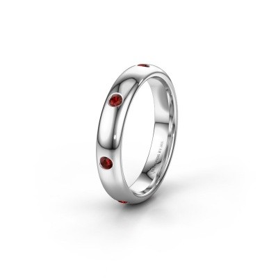 Wedding ring WH0105L34BP 950 platinum garnet ±4x2 mm