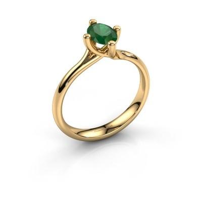 Verlobungsring Dewi Oval 375 Gold Smaragd 7x5 mm