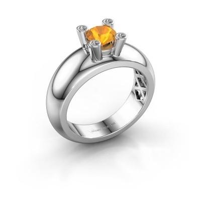 Ring Cornelia Round 925 silver citrin 5 mm