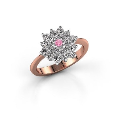 Engagement ring Vickey 2 585 rose gold pink sapphire 2 mm