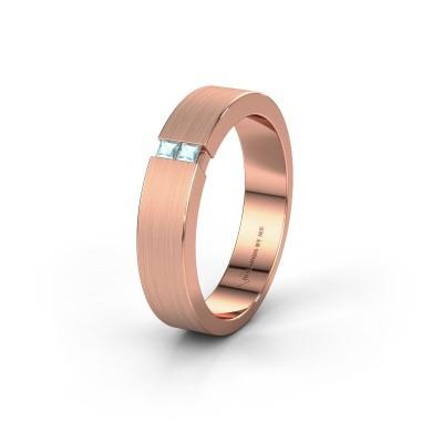 Wedding ring WH2136M15E 375 rose gold aquamarine ±5x2.4 mm