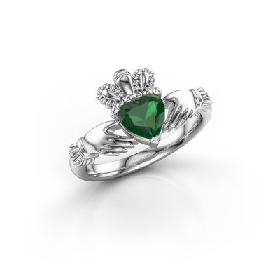 Foto van Ring Claddagh 2 925 zilver smaragd 6 mm