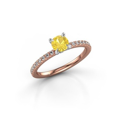 Picture of Engagement ring Crystal rnd 2 585 rose gold yellow sapphire 5 mm