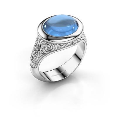 Ring Natacha 925 zilver blauw topaas 12x10 mm