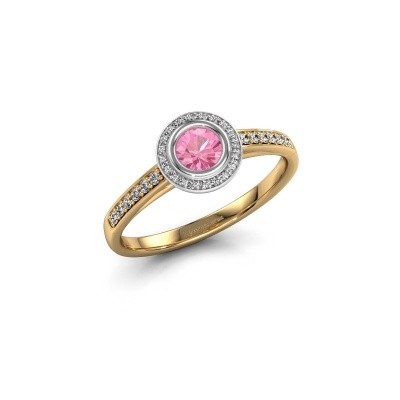Engagement ring Noud 2 RND 585 gold pink sapphire 4 mm
