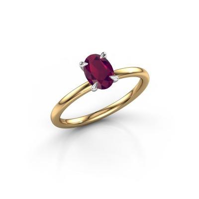 Foto van Verlovingsring Crystal OVL 1 585 goud rhodoliet 7x5 mm
