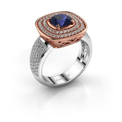 Ring Eliana 585 rosé goud saffier 6 mm