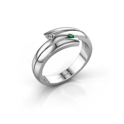 Ring Dena 585 witgoud smaragd 2 mm