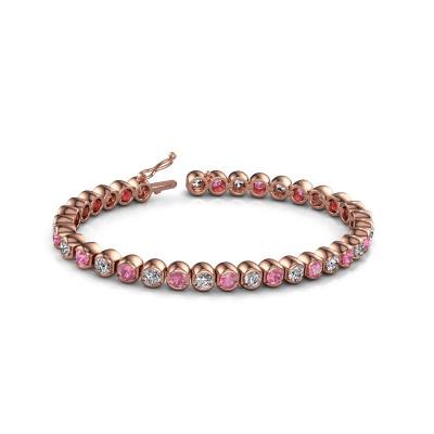 Foto van Tennisarmband Bianca 4 mm 375 rosé goud roze saffier 4 mm