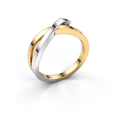 Ring Alyssa 585 gold smokey quartz 2 mm