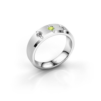 Foto van Heren ring Remco 375 witgoud peridoot 2.7 mm