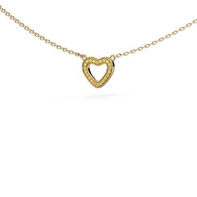 Foto van Hanger Heart 4 375 goud gele saffier 0.8 mm