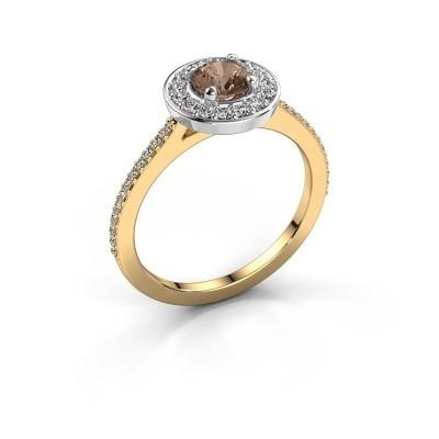 Foto van Ring Agaat 2 585 goud bruine diamant 0.78 crt