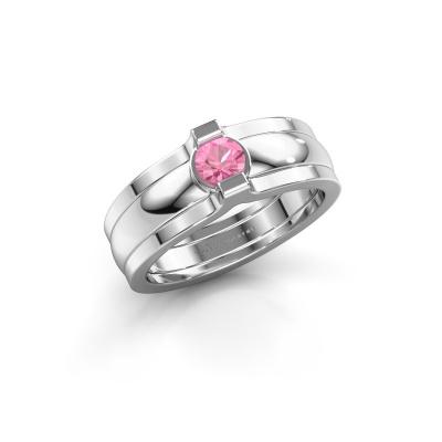 Ring Jade 925 Silber Pink Saphir 4 mm