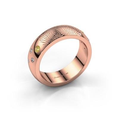 Foto van Ring Minke 375 rosé goud gele saffier 2 mm