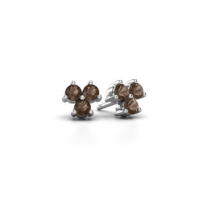 Picture of Stud earrings Shirlee 925 silver smokey quartz 3 mm
