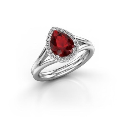 Photo de Bague de fiançailles Elenore 585 or blanc rubis 8x6 mm
